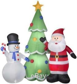 Christmas Air Blown Inflatable Huge 13' Santa & Snowman with Xmas Tree Yard Decor