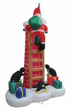 Christmas Air Blown Inflatable Santa & Penguins Climbing Chimney Yard Decoration