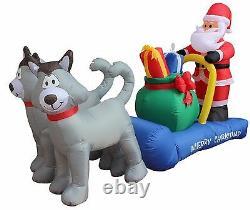 Christmas Air Blown Inflatable Yard Garden Decoration Santa & Husky Sleigh Sled