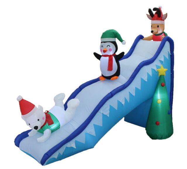 Christmas Air Blown Led Inflatable Decoration Polar Bear Reindeer Penguin Slide