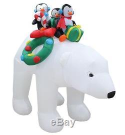 Christmas Air Blown LED Inflatable Yard Art Decoration Polar Bear Penguin Wreath