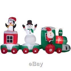 Christmas Airblown Inflatable 11 ft Lighted Santa Train Scene NIB