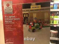 Christmas Airblown Inflatable 16 Lighted Animated Santas Airplane NIB