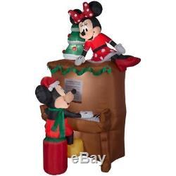 Christmas Airblown Inflatable 7 1/2' Mickey & Minnie Piano Scene Yard Decoration