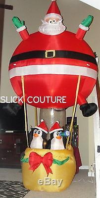 Christmas Airblown Inflatable Santa Hot Air Balloon Penguins Tinsel 11.7 FT TALL