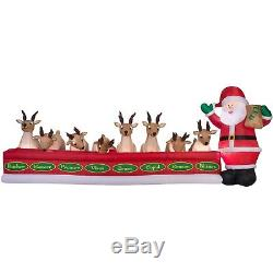 Christmas Animated Inflatable airblown Santa Feeding 8 Reindeer WIDE yard