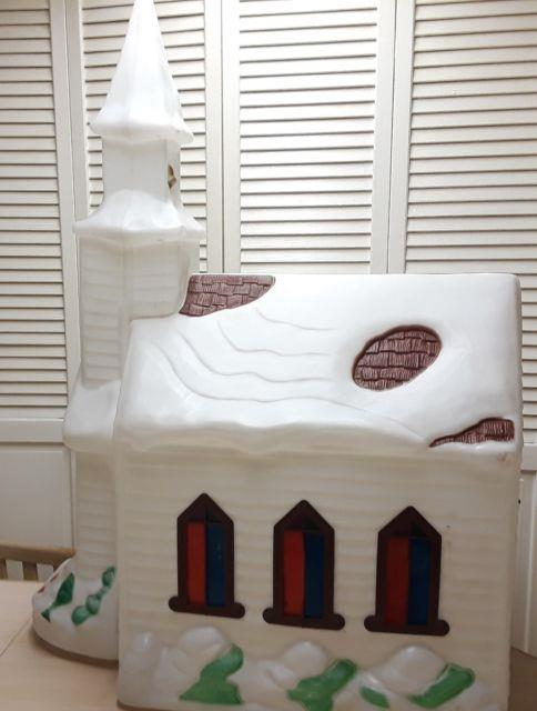 Christmas Church Chapel Blow Mold-vtg-empire- 41 Ht-htf-with 2 Cords