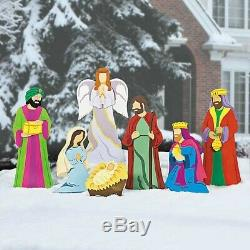 Christmas Decorations Nativity Scene Yard Stakes 7pc Set Outdoor Decor New
