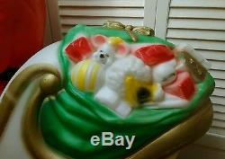 Christmas- Empire Santa & Sleigh-Blow Mold- (App. 38 Htx41) -With Cord & Runners