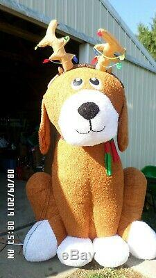 Christmas Fuzzy 8.5 Ft Brown Reindeer Dog Inflatable Airblown Yard Decoration