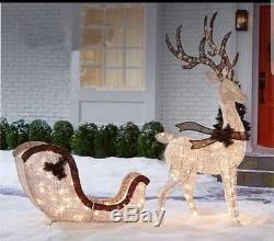 christmas holiday light up deer sleigh 210 lights2 piece setyard decor sale