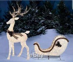 Christmas Holiday Light-Up DEER & SLEIGH 210 Lights(2-piece Set)Yard Decor SALE