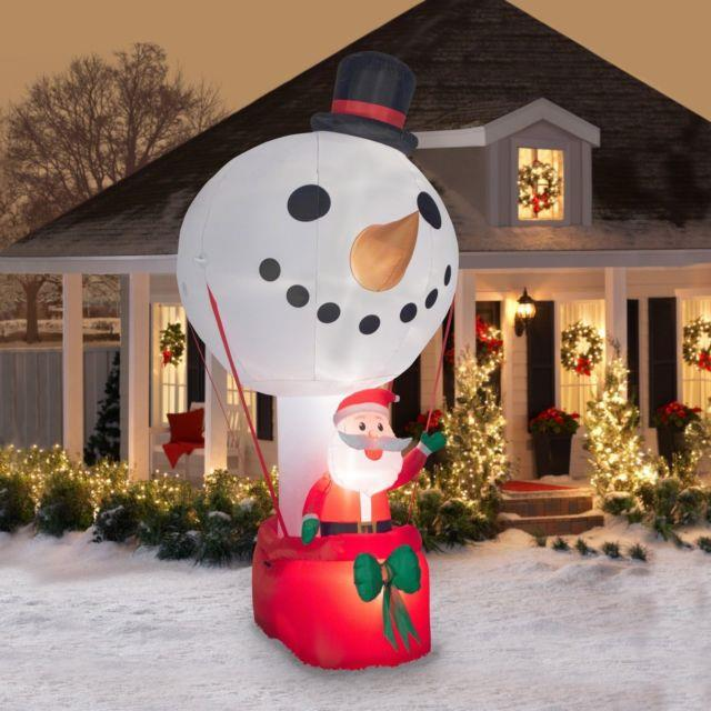 Christmas Holiday Time Inflatable Hot Air Balloon Snowman With Santa 12ft Tall