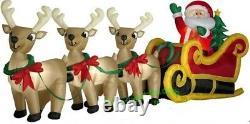 Christmas Huge 16 Ft Santa Reindeer Sleigh Sled Airblown Inflatable Yard Gemmy