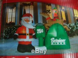 Christmas Huge 6.5 Long Santa & Elf On Reindeer Rider Airblown Inflatable
