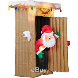 Christmas Inflatable 6 Ft Tall Animated Led Outhouse Santa Outdoor Yard Prop