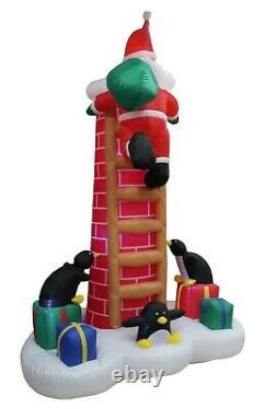 Christmas Inflatable Air Blown Yard Decoration Santa n Penguins on Chimney Decor