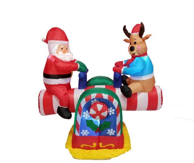 Christmas Inflatable Animated Santa Claus Reindeer Teeter Totter Yard Decoration