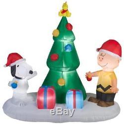 Christmas Inflatable Snoopy Charlie Peanuts Christmas Tree Scene 6ft NEW
