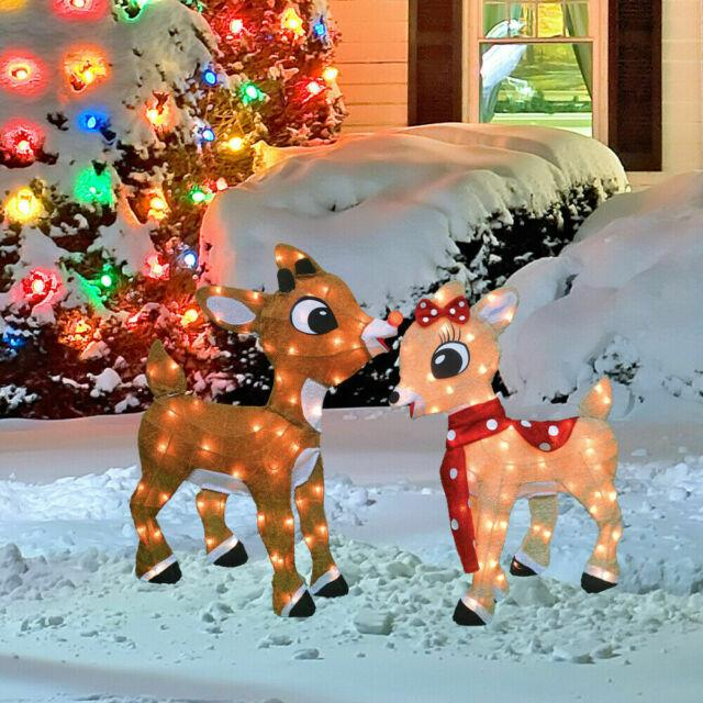 Christmas Lighted Rudolph The Red Nosed Reindeer & Clarice Outdoor Holiday Decor