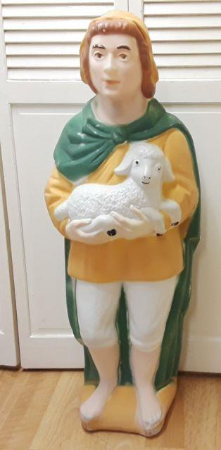Christmas Nativity Shepard With Lamb Blow Mold-poloron-app. 43htf-with Plate No Cord