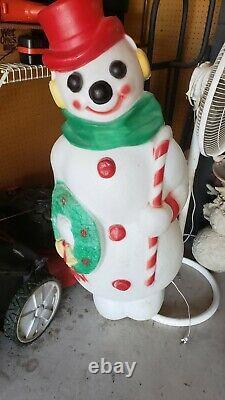 Christmas Outdoor Blow Mold Snowman 48 Wreath Candy Cane Empire 48' Frostyexcel