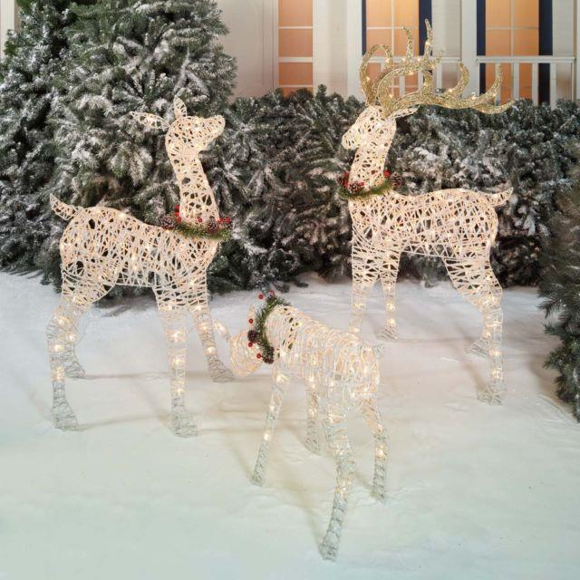 Christmas Outdoor Lighted Deer Family Holiday Light Decoration Set Of 3 New