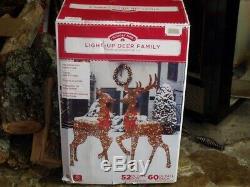 Christmas Outdoor Lighted Large Deer Family Buck Doe Reindeer Figure Display Set