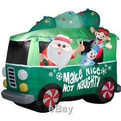 Christmas Santa 1960's Hippie Peace Van Airblown Inflatable Yard Decoration