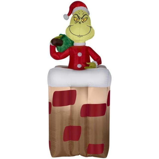 Christmas Santa 6 Ft Dr Seuss The Grinch Animated Chimney Airblown Inflatable