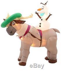 Christmas Santa 7 Ft Frozen Olaf Sven Disney Airblown Inflatable Yard