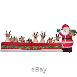 Christmas Santa Animated Feeding Reindeer Stable 16 Ft Airblown Inflatable Yard