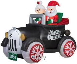 Christmas Santa Antique Car Ms Claus 5.5 Ft Inflatable Airblown Gemmy