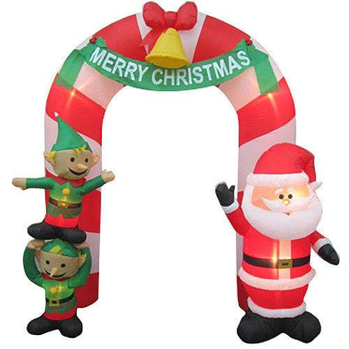 Christmas Santa Archway Arch Candy Cane Elf Airblown Inflatable Yard Decoration