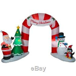 Christmas Santa Archway Arch Candy Cane Penguin Airblown Inflatable 11.5 Ft