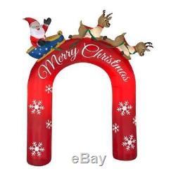 Christmas Santa Archway Arch Reindeer Sled Sleigh Airblown Inflatable Yard Decor