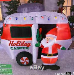 Christmas Santa Camper Rv Camping Inflatable Airblown Yard Decoration 6 Ft