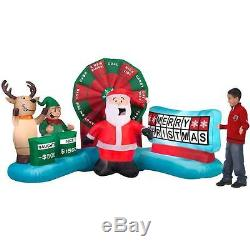 Christmas Santa Elf Wheel Of Fortune Game Airblown Inflatable Yard Animated