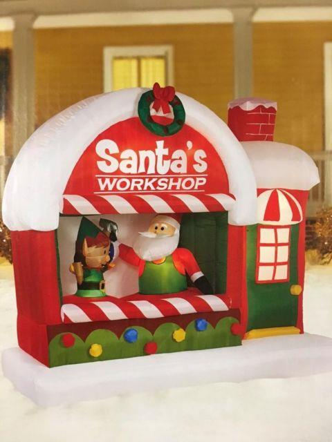 Christmas Santa Elf Workshop Airblown Inflatable Yard Decor 7 Ft Long