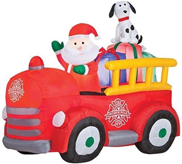 Christmas Santa Fire Truck Dalmation Dog Inflatable Airblown Yard Decoration