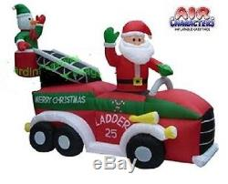 Christmas Santa Fire Truck Ladder Snowman Inflatable Airblown Yard Decoration