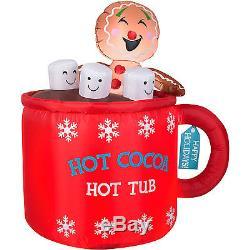 Christmas Santa Gingerbread Man In Cup Of Cocoa Airblown Inflatable Decor Mug