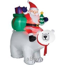 Christmas Santa On Polar Bear With Presents Airblown Inflatable Gemmy