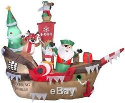 Christmas Santa Pirate Ship Scene Penguin Airblown Inflatable Yard 10 Ft