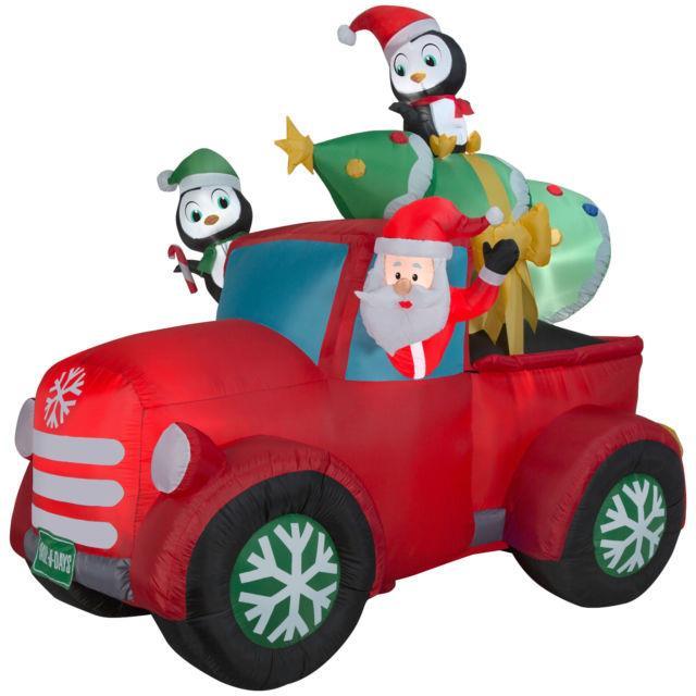 Christmas Santa Retro Pickup Truck Penguins Tree Airblown Inflatable Decoration