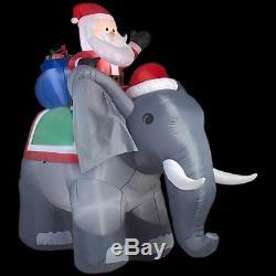Christmas Santa Riding Elephant Toy Bag 10.5 Ft Inflatable Airblown Yard Decor