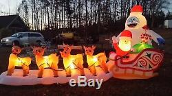 Christmas Santa Rudolph Reindeer Bumble Sled Sleigh Airblown Inflatable 16.5 Ft
