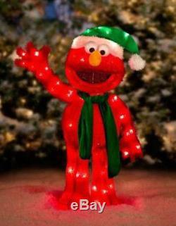 Christmas Santa Sesame Street Elmo Lighted Yard Decor Tinsel