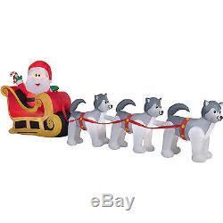 Christmas Santa Sleigh Husky Dog Sled Airblown Inflatable Decoration 12.5 Ft