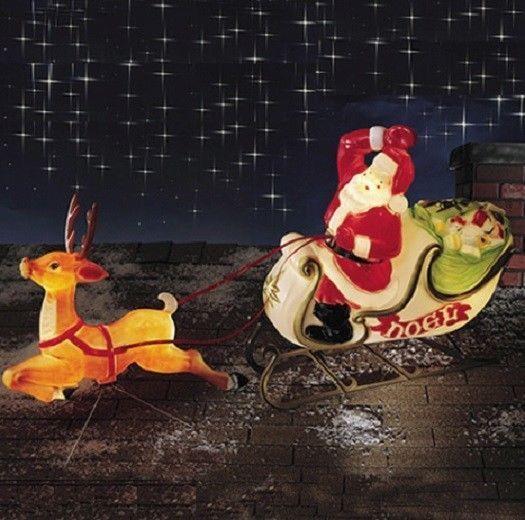 Christmas Santa Sleigh With Reindeer Sled Blow Mold Yard Decor Roof Top